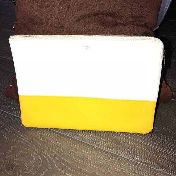 ccf179ea5554 Celine Handbags - Céline Yellow White Leather Clutch
